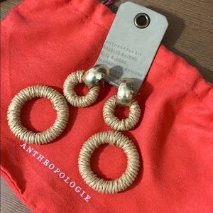 {Anthropologie} Wicker & Gold Drop Earrings